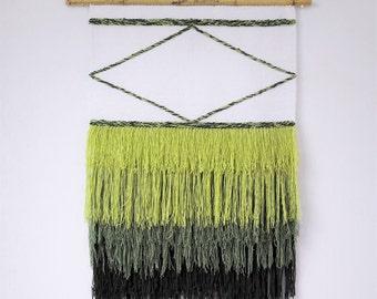 Woven wall hanging, Fiber art, Wall tapestry, Wall decor, Macrame wall hanging, Woven wall art, Green wall art, Modern wall art, Tapestry