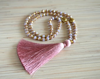 c751afbccbf6 Borla largo collar de turquesa con cuentas collar lila perla collar Boho  joyería collar Tribal Boho chic joyería otoño regalo de Navidad