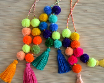 Pom pom bag charm Tassel bag charm Neon pink tassel bag charm Bag  accessories Boho accessories Handbag charm Pom pom purse charm 18de4d1c937b6