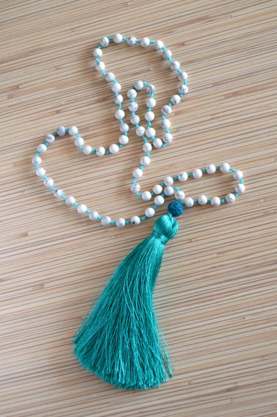 144b05bea6213 Long tassel necklace Mala necklace with tassel Beaded necklace