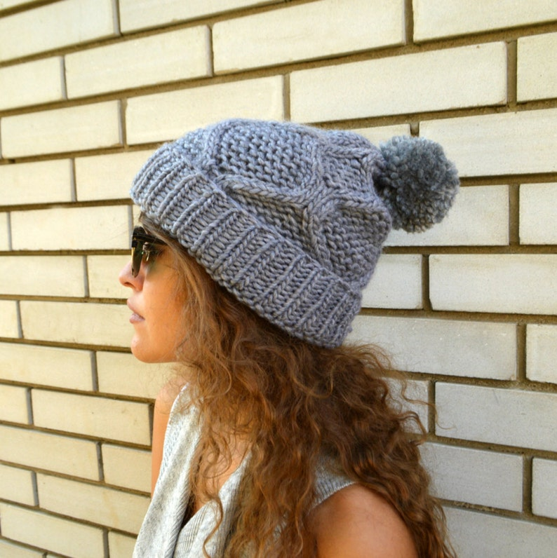9e90c720e0113 Womens Hat Slouchy Hat Grey Crochet Hat Slouchy Beanie Pom Pom