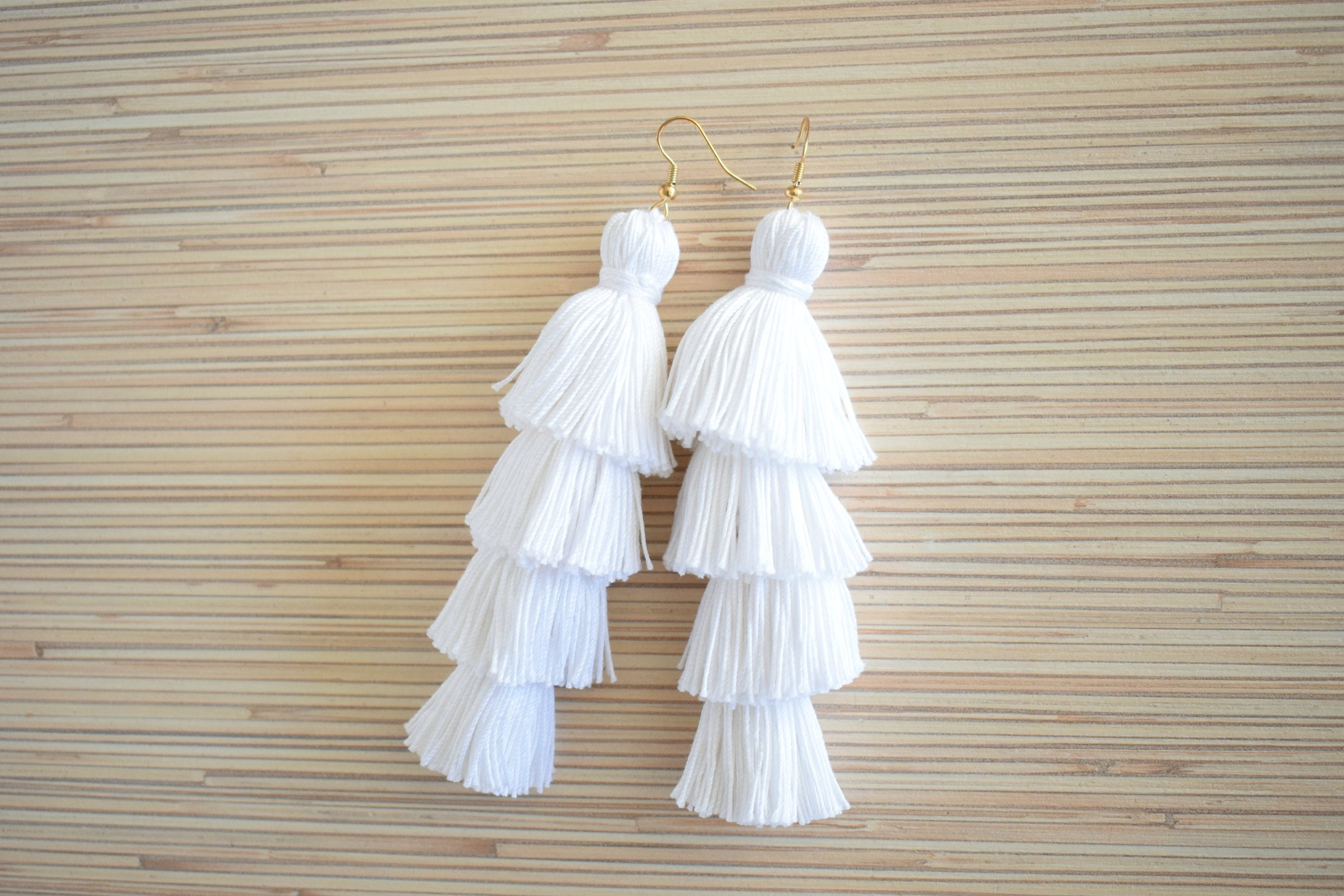41f7549a3144fb White Tassel Earrings Layered Tassel Earrings Tiered Tassel | Etsy