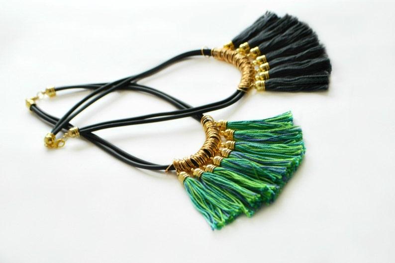 25d21820392c Declaración de oro collar borla collar flecos verde collar