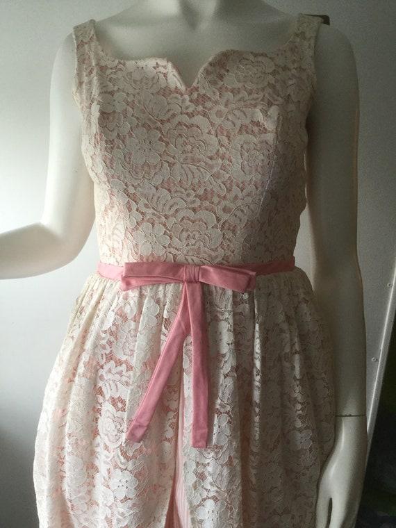 50s Pink Seersucker & Lace Dress