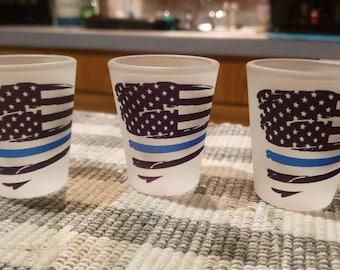 ONE blue line flag shot glass