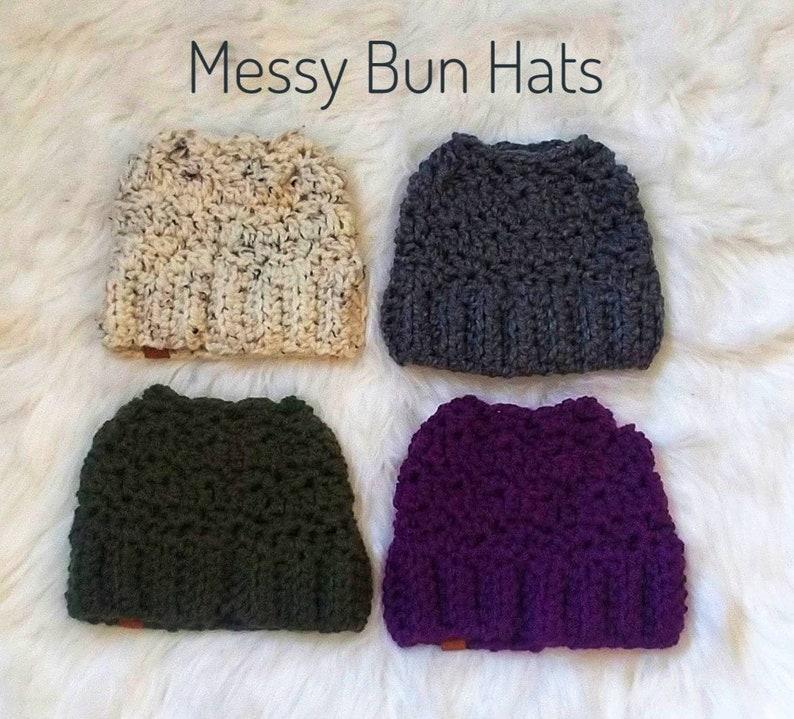 Crochet Messy Bun Hat Ponytail Hat Vegan Beanie Runners  66aec33fd01