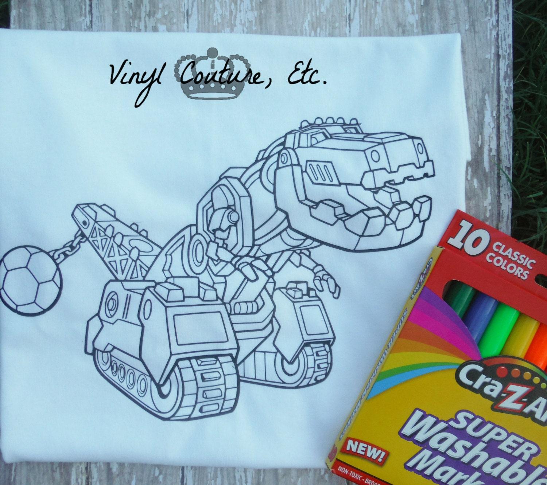 Dinotrux T-Rex para colorear camiseta / cumpleaños regalo | Etsy