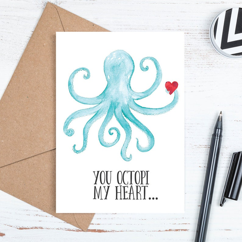 photo relating to Octopus Template Printable named Printable Card, Electronic Downloadable Card, Adorable, Octopus, Valentines Card, Center Get pleasure from, Yourself Octopi My Center, Envelope Template, JPG Obtain