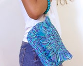 Blue Teal Clutch, Raffia Wristlet, Beaded Fringe Purse, Casual Lined Everyday Handbag, Purple Wristlet, Summer Vegan Bag, Women's Gift