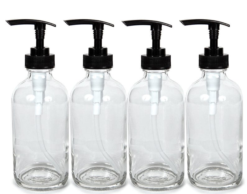 b50f63c3b6f9 4, Large, 8 oz, Empty, Clear Glass Bottles with Black Lotion Pumps