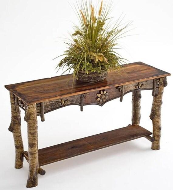 Marvelous Adirondack Style Rustic Birch Bark Sofa Table Machost Co Dining Chair Design Ideas Machostcouk