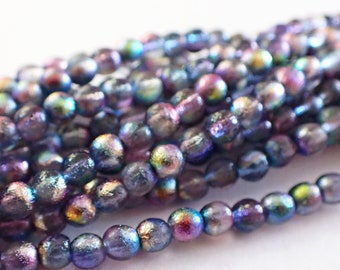Czech Republic Glass Beads Blue /& Green 12 Silvery Frosted Finish Laguna Celestial 7x4mm Etched Rondelle Beads