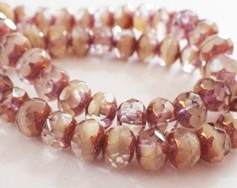 10 9x6mm Rosaline Czech Faceted Rondelle Glass Beads