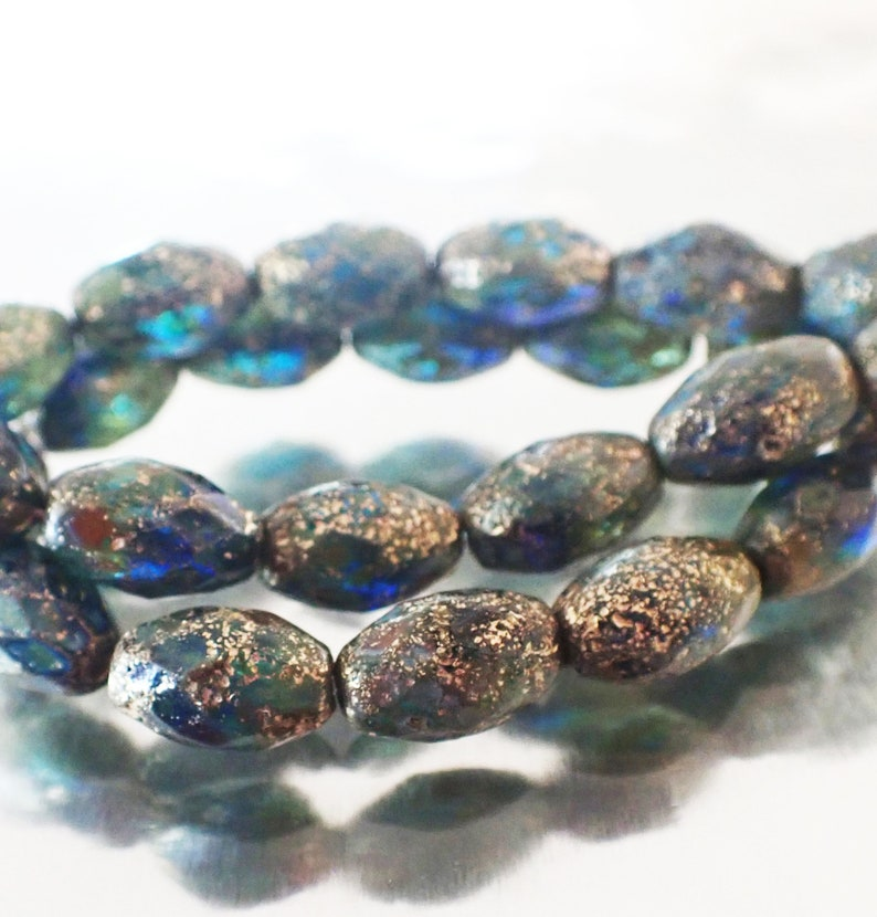Picasso and Gold Finishes Etched Sapphire /& Teal 12x8mm Faceted Oval Beads Czech Republic Glass Beads 6