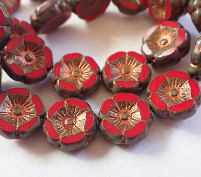 Red Copper Picasso 12mm Table Cut Hawaii Flower Beads 6 Czech Republic Glass Beads Opaque