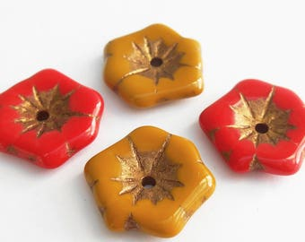 40% OFF! 1 - Large Opaque Red or Butternut 20mm Aloha Flower Beads, Old Patina, Czech Glass, Focal Bead, Water Lily, Monkeyshine Beads