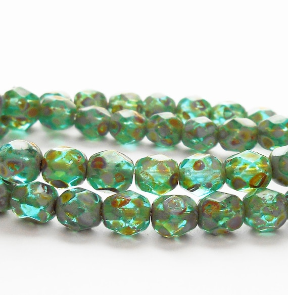 25 Teal Czech Glass Fire Polished Faceted Round Beads 10MM
