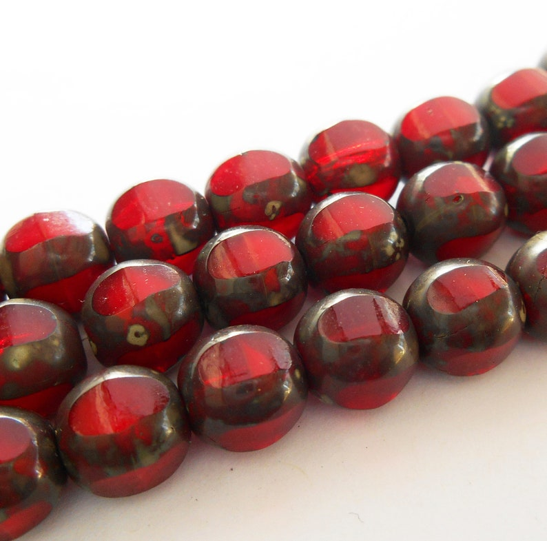 18 Czech Glass Red Silk Travertine Faceted Teardrop Beads 8x6mm