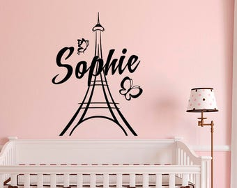 Personalized Paris Wall Decals Vinyl Stickers By FabWallDecals   Girl Name Wall  Decal Paris Theme Bedroom  Eiffel Tower Wall Decal M067