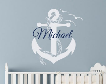 Wall Decal Boy Personalized Initial Name Wall Decals Nautical Anchor Stickers Nursery Kids Boys Teens Room Playroom Wall Art Home Decor M039