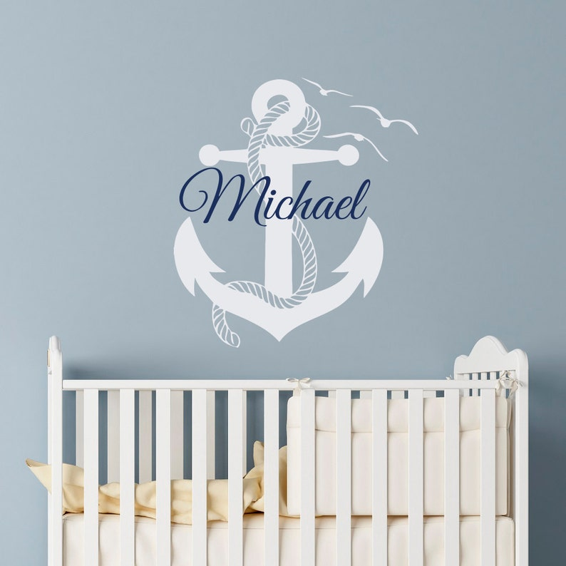wall decal boy personalized initial name wall decals nautical | etsy