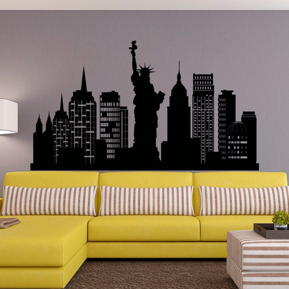 new york city skyline wall decal nyc silhouette new york wall etsy