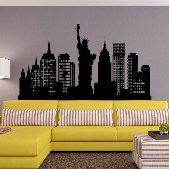 New York City Skyline Wall Decal NYC Silhouette New York Wall | Etsy