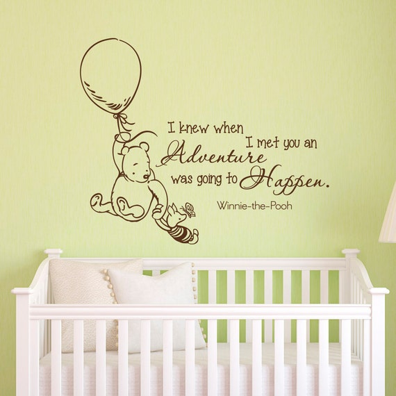 Wall Decals Quotes Classic Winnie the Pooh I Knew When I Met