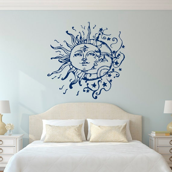 Sun Moon Stars stickers per la camera da letto-sole e Luna adesivi murali  Decor etnici - sole luna calante decalcomanie Boho Boho moda camera da  letto ...