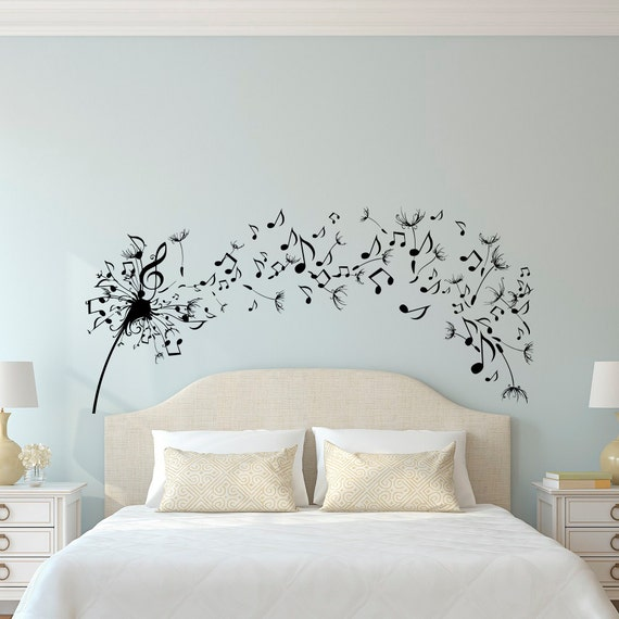 Dandelion Wall Decal Bedroom- Music Note Wall Decal Dandelion Wall Art  Flower Decals Bedroom Living Room Home Decor Interior Design C109