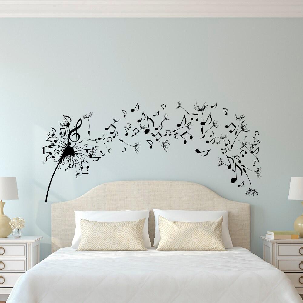 Dandelion Wall Art Dandelion Decor Black White Bedroom: Dandelion Wall Decal Bedroom Music Note Wall Decal