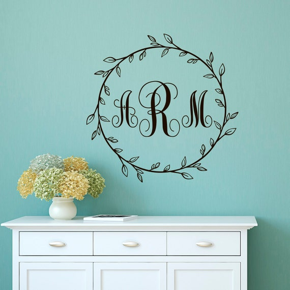 Monogramme Wall Decal Sticker personnalisé initiale - famille mur ...