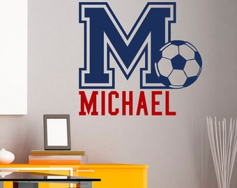 Initial Name Wall Decal Football Soccer Wall Decals Personalized Initial Name Monogram Nursery Kids Boys Room Playroom Bedroom Decor M034
