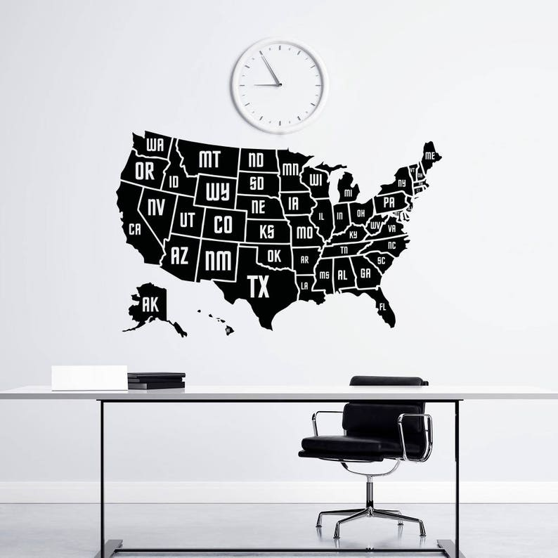 Wall Decal USA AMERICA MAP - Map of the United States Geography Removable  Vinyl Decal Sticker Office Decor - Large American Map Mural C140