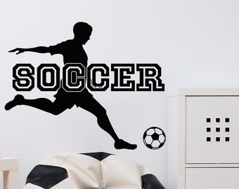 Soccer Wall Decal Sports Man Football Player Sport Gym Wall Decals Stickers Bedroom Nursery Kids Boys Room Wall Art Decor Soccer Gifts Q111