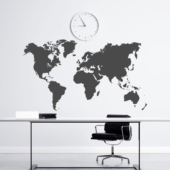 World map vinyl wall decal national geographic map of the etsy image 0 gumiabroncs Image collections