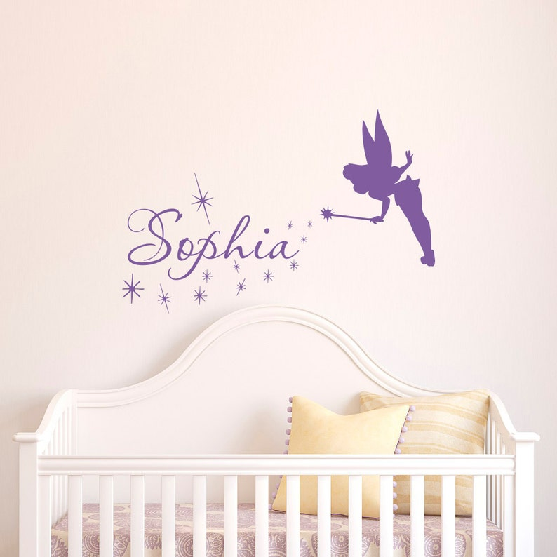 Name Wall Decal Girl Tinkerbell Fairy Silhouette Vinyl Decals Sticker Magic  Little Princess Nursery Baby Girls Bedroom Wall Art Decor Q060