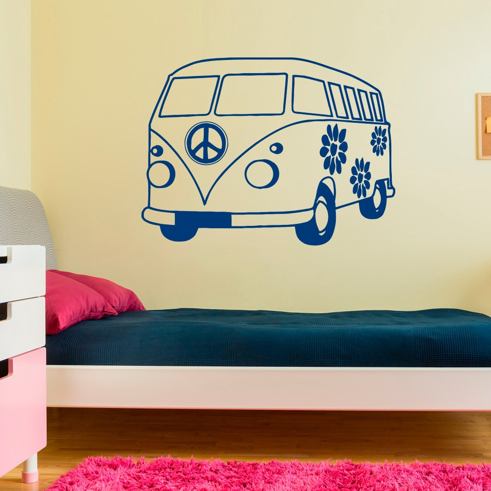 Adventure Car Wall Decal Hippie Bus Nursery Decals Peace Sign   Etsy