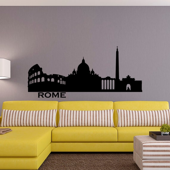 rome skyline wall decal city silhouette italy rome wall decals | etsy