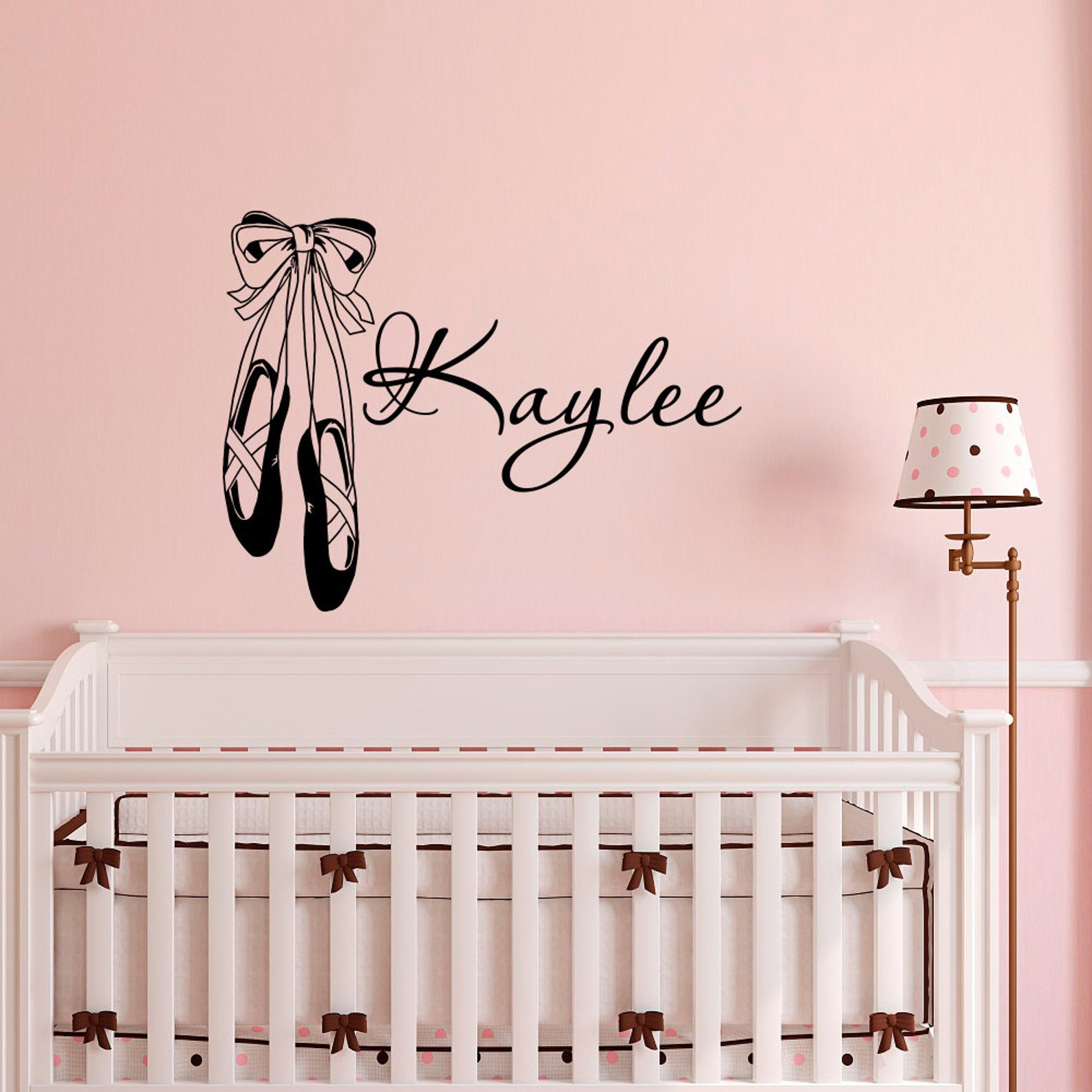 personalized wall decal- girls name wall decal stickers dance ballet studio ballerina girls bedroom dorm wall murals home decor