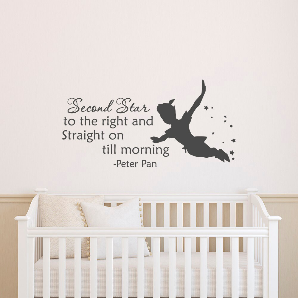 Peter Pan Silhouette Wall Decal Quote Second Star To The Right Etsy