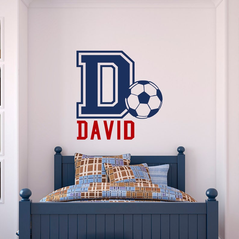 Personalized Name Wall Decal Football Soccer Boys Room Decor (034)