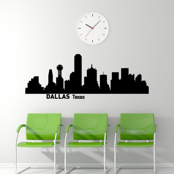 dallas skyline wall decal city silhouette dallas texas wall etsy
