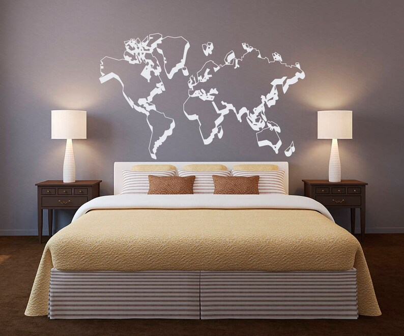 world map outlines wall decal world map wall decor outline | etsy