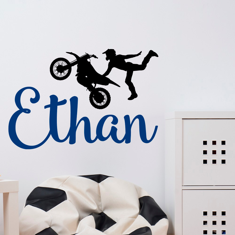 Dirt Bike Wall Decals Name Wall Decal Boy Wall Decal Dirt Etsy