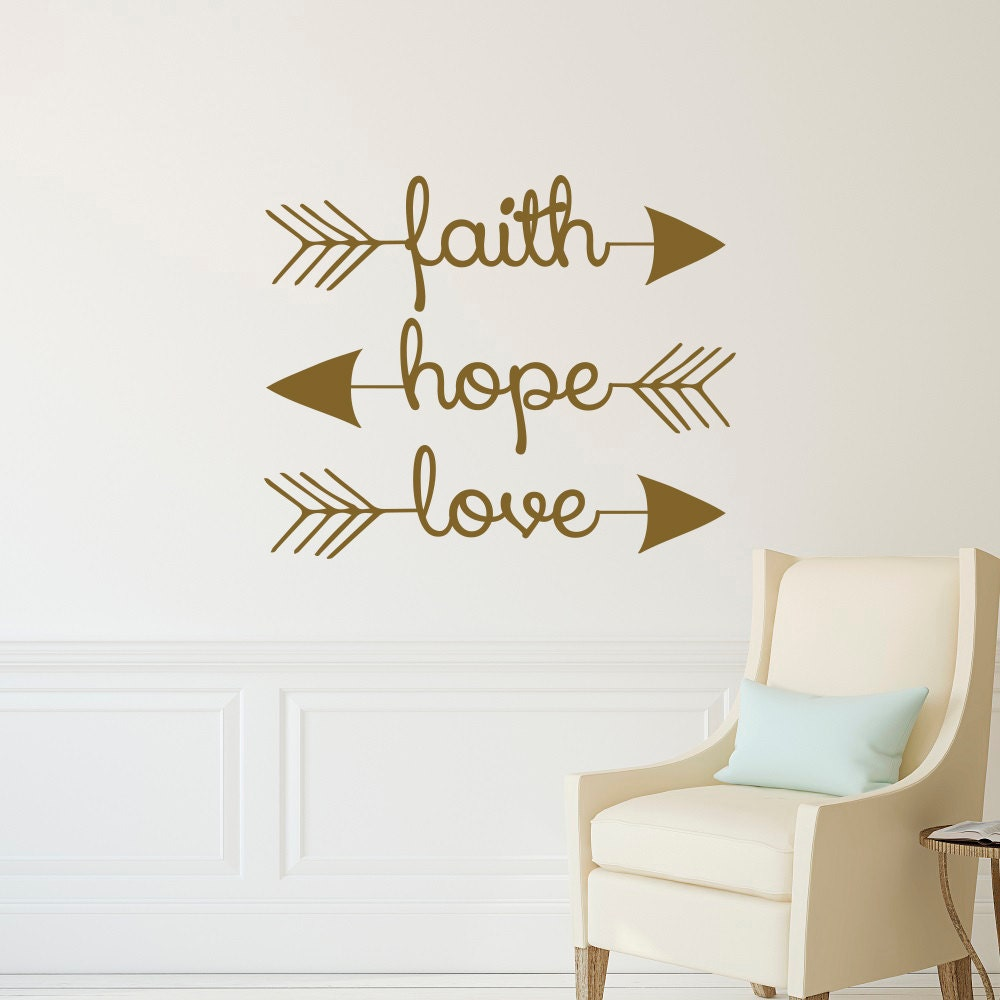 Faith Hope Love Wall Decal Arrow Wall Decal Arrow Wall Etsy