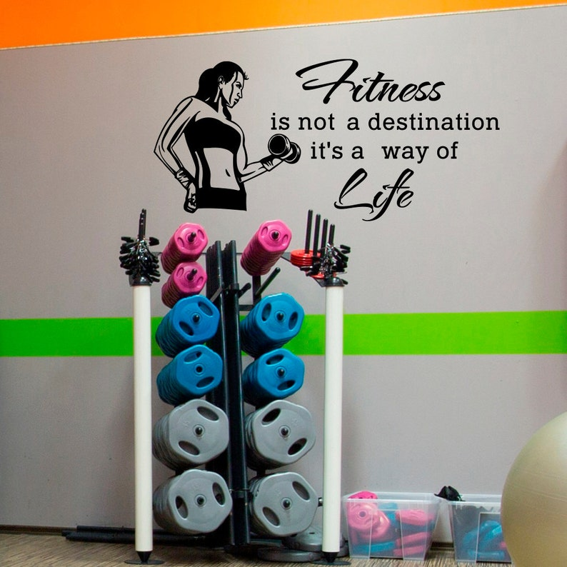 Sports wall decal quotes fitness is not a destination it s etsy