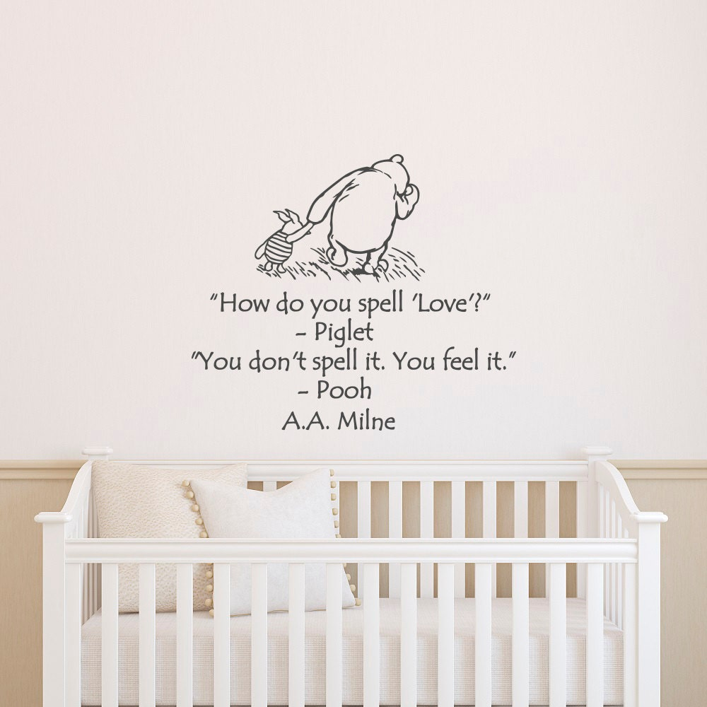 Wall Decals Nursery Winnie The Pooh How Do You Spell Love Etsy