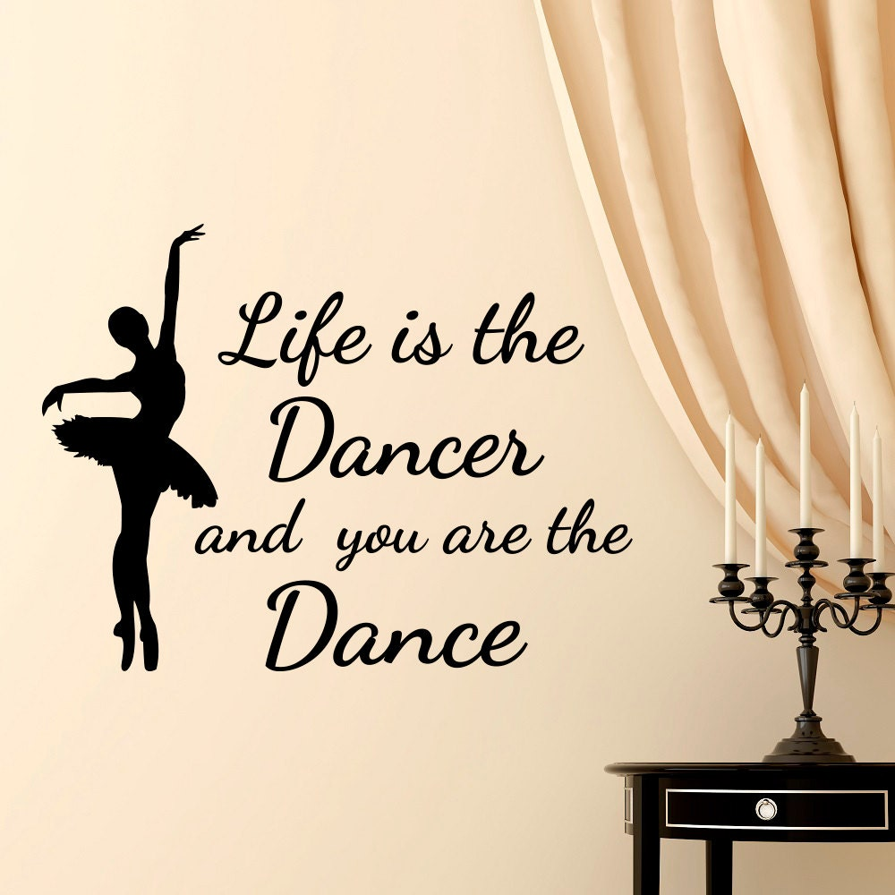 Home & Garden Wall Stickers Vinyl Wall Sticker Quote Close Your Eyes Breathe And Just Dance Beautiful Ballet Pointe Shoes Girls Bedroom Wall Decal Homedecor