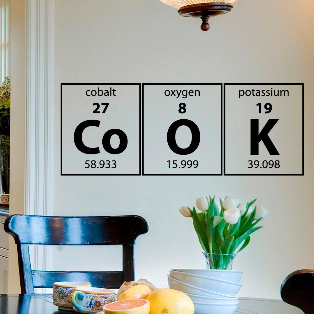 Cook Wall Decal Periodic Table Elements Science Vinyl | Etsy